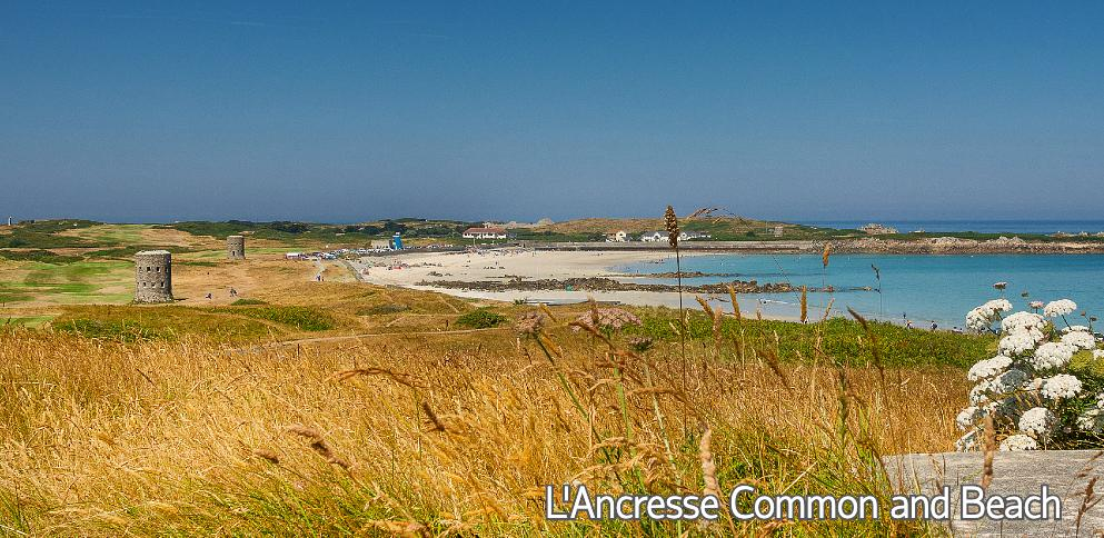 L'Ancresse common and beach with Martello Towers