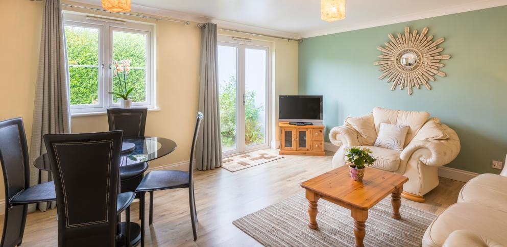 A bright sea spacious living rooms in the two bedroom cottages at The Ellingham self-catering complex
