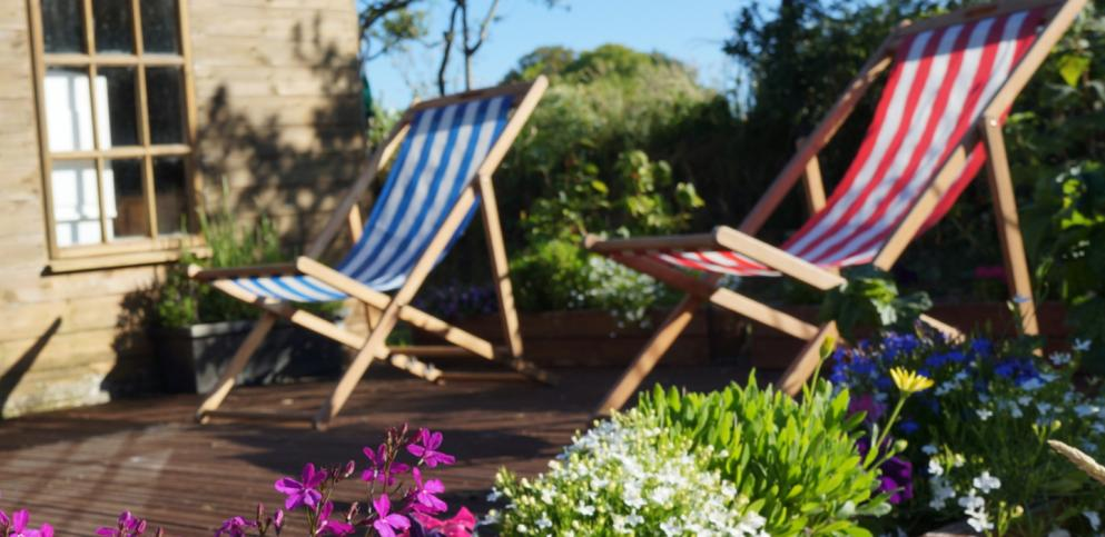 deckchairs on decking
