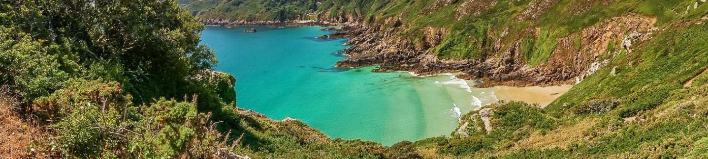 Petit Port Bay in Guernsey - view from the cliffs