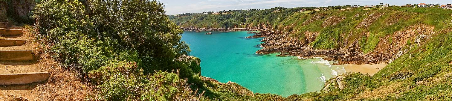 Overlooking Fermain Bay from cliffs in Guernsey