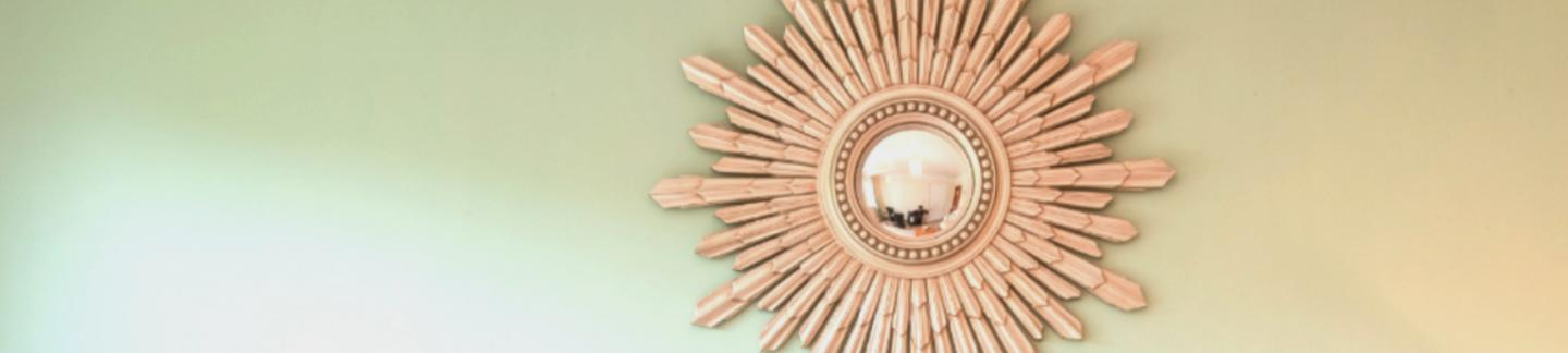mirror in self catering cottage at The Ellingham Cottages