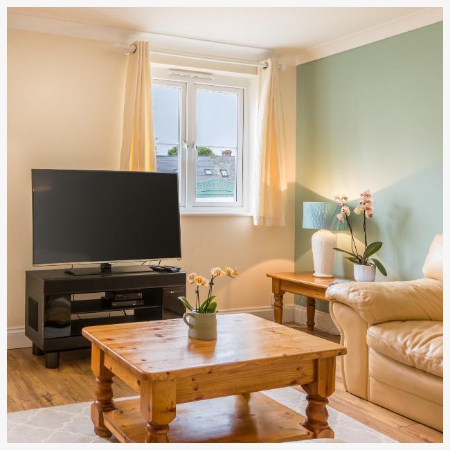 TV in living room in The Ellingham Cottages, St Martins, Guernsey