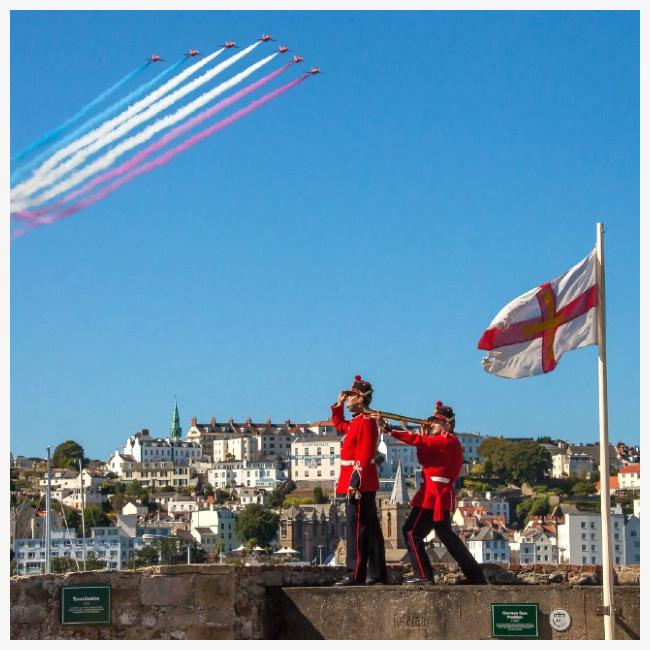 Red Arrows over Castle Cornet