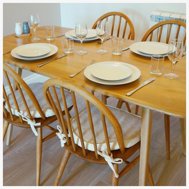 dining table set for dinner at The Ellingham Cottages, St Martins, Guernsey
