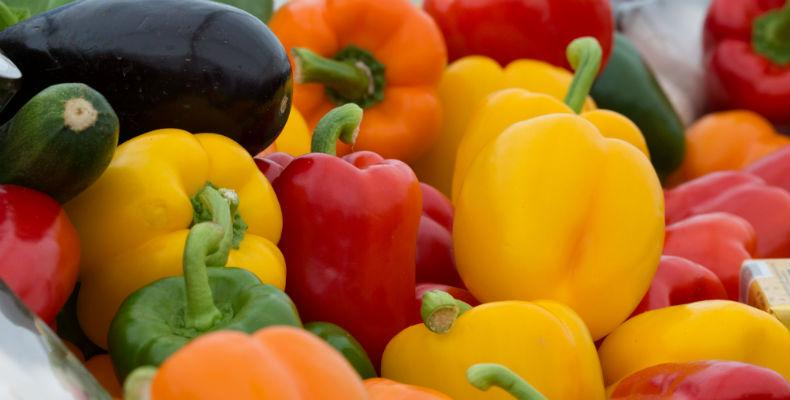 Green, red and yellow peppers from Guernsey Farmers Market